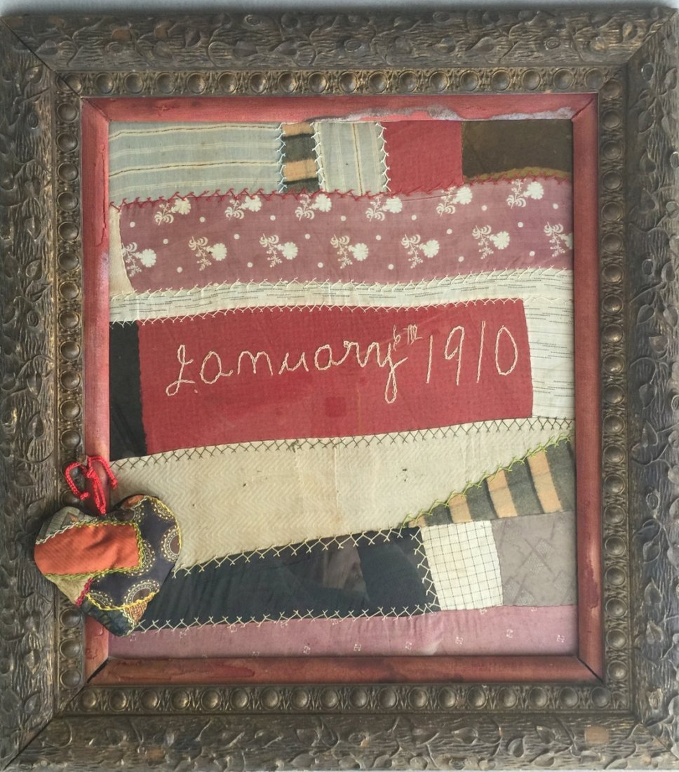 Framed Antique Quilt Fabric with Quilted Heart and Date