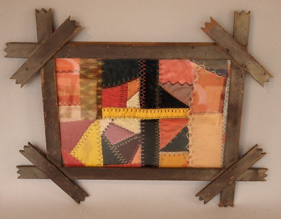 Feather-stitched Quilt in Tramp Art Frame