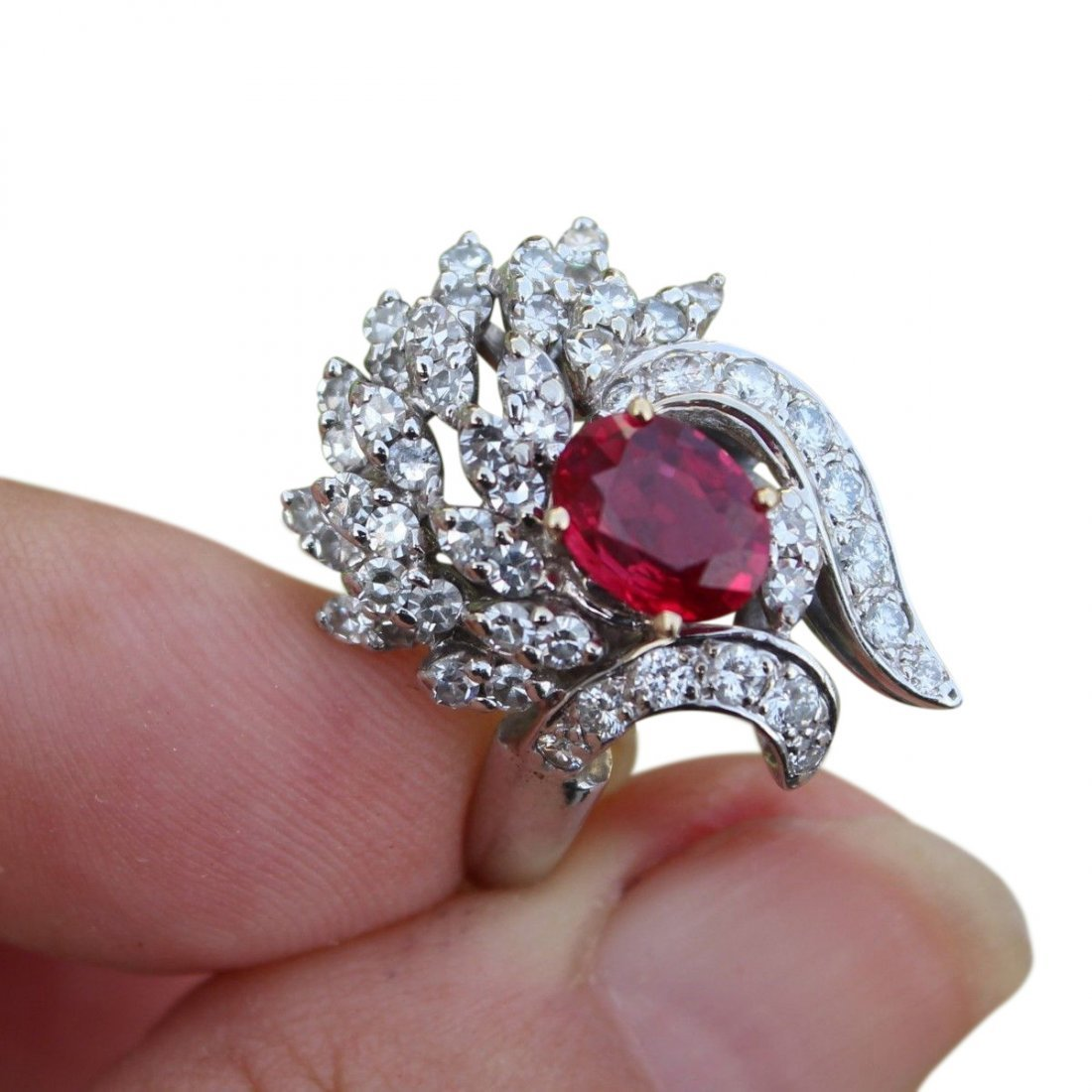 3.5 CT AGL Certified Estate Burma Ruby and Diamond Ring