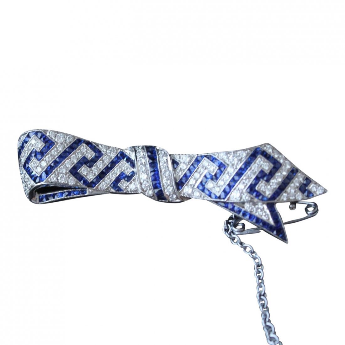 Sapphire and Diamond Art Deco Bow Brooch