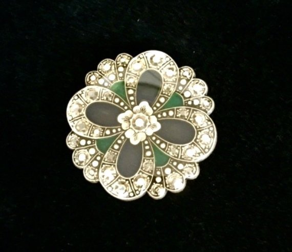 FRENCH PIN ANTIQUE SILVER w GREEN STONES EXQUISITE!