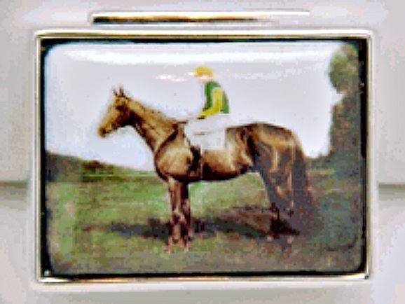 JOCKEY ON HORSE PILL BOX STERLING SILVER RETAIL $185