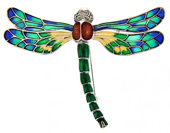 DRAGONFLY PIN FRENCH PLIQUE A JOUR ENAMEL STERLING