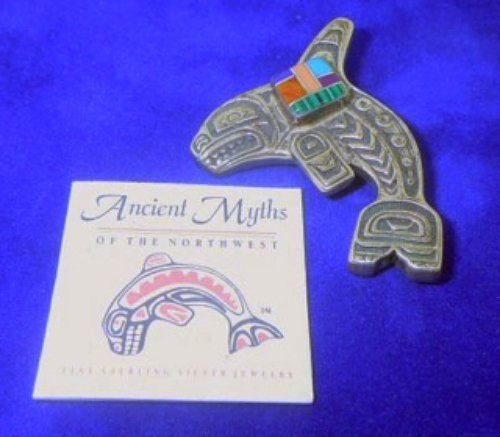 NORTHWEST INDIAN WHALE BROOCH PIN TURQUOISE ORIGINAL