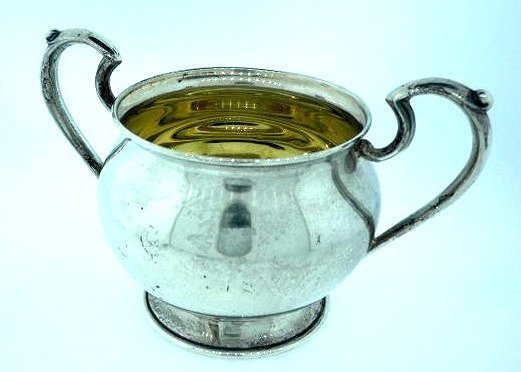STERLING SILVER SUGAR BOWL 92 GRAMS SIGNED H 087 DECO