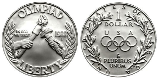 1988 US MINT UNITED STATES OLYMPIC COINS SILVER DOLLAR