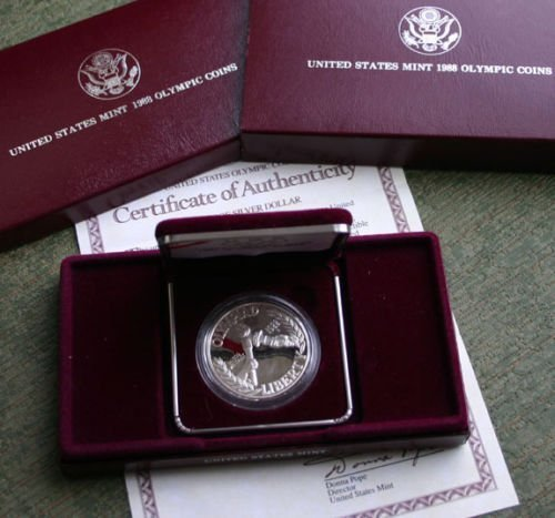 1988 US MINT UNITED STATES OLYMPIC COINS SILVER DOLLAR - 2