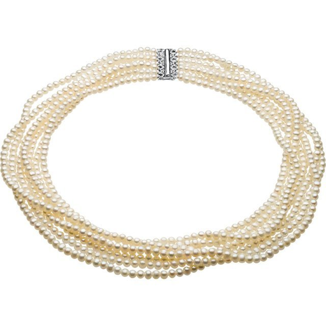 PEARL NECKLACE 7 STRAND STERLING CLASP