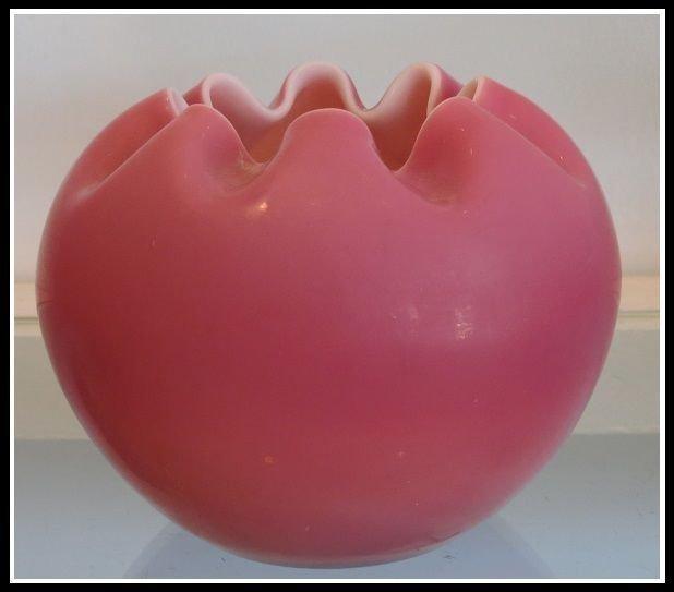 Antique Cranberry Pink Victorian Satin Glass Rose Vase