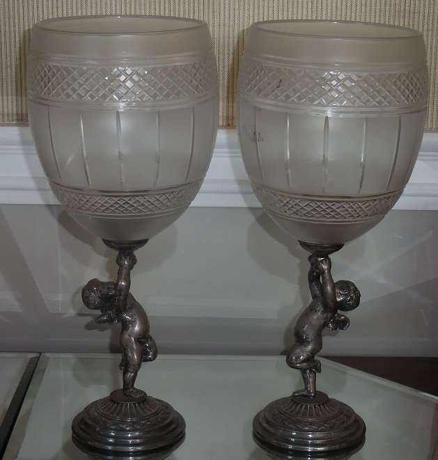 Pair Antique American Cut Crystal Silver Cherub Figural