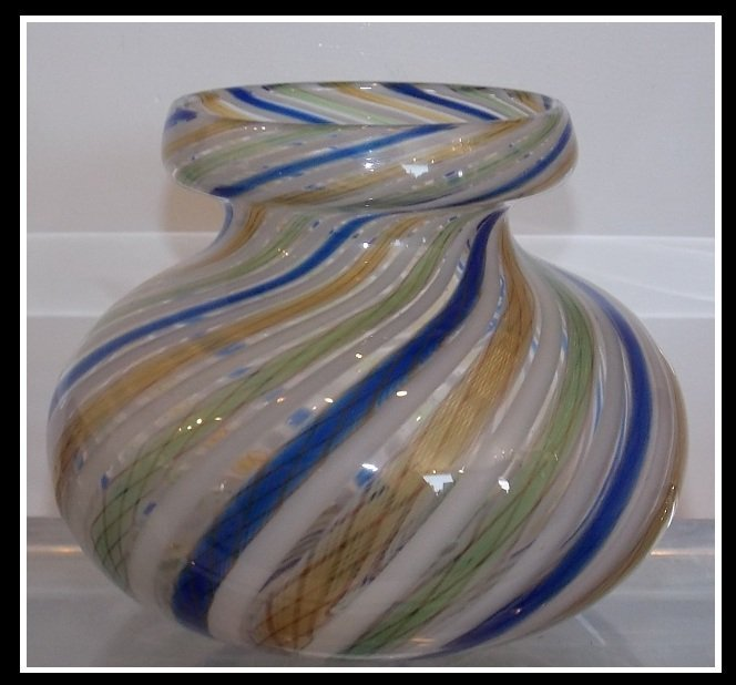 Antique Italian Venetian Art Glass w Swirling Latticino