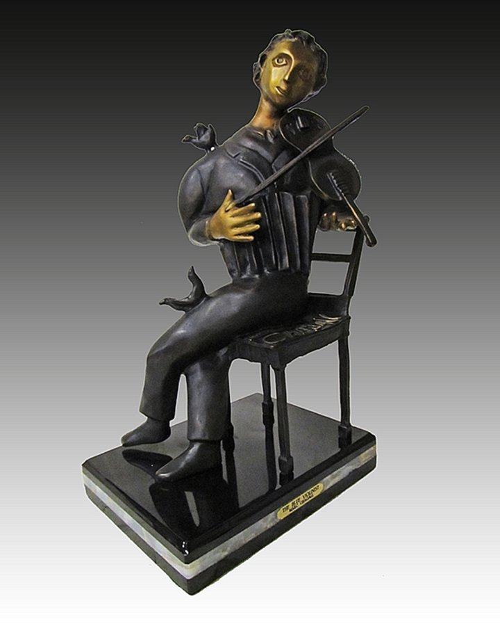 The Violinist After Marc Chagall Bronze Sculpture