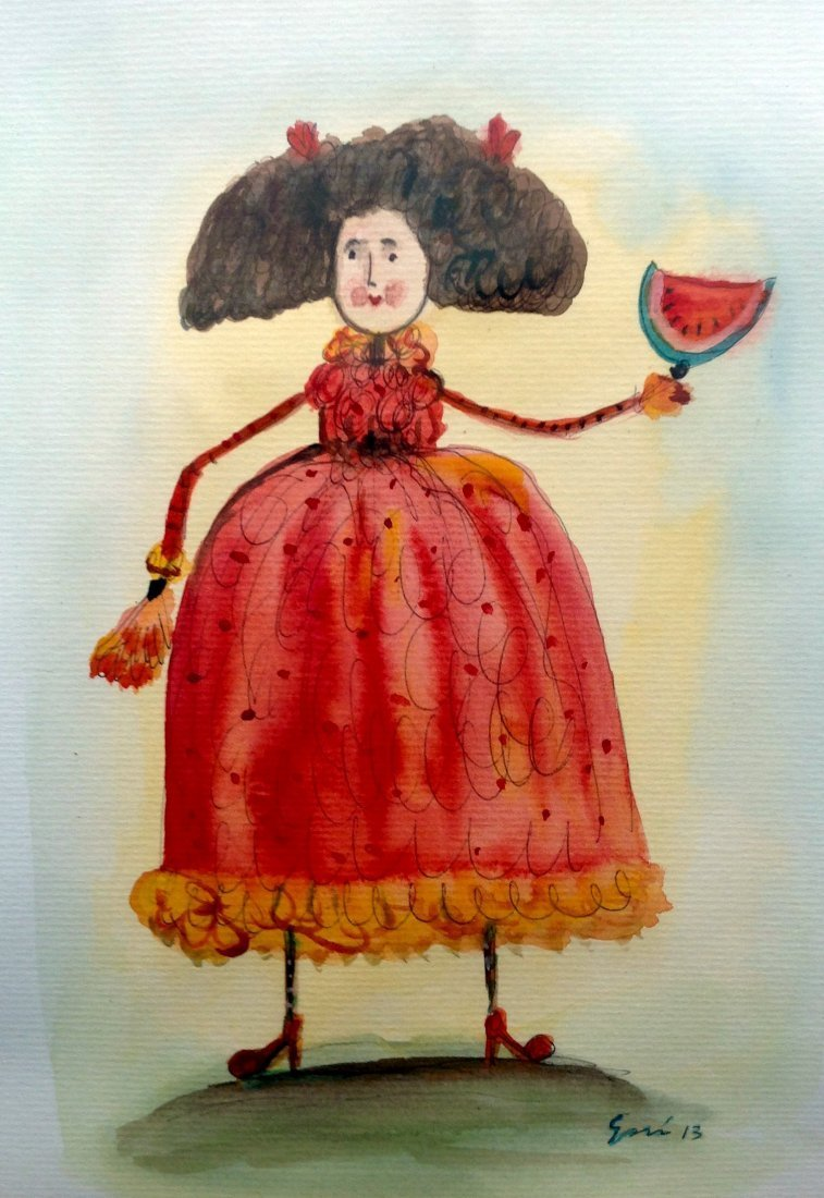 Mexican Folk Art-Watercolor on Archival Paper-Original