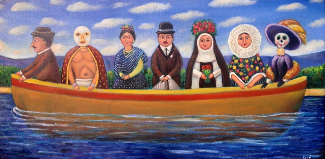 Mexican Folk Art-Oil on Canvas Original by Esau Andrade