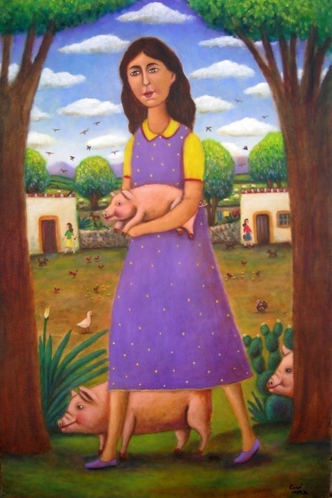 Mexican Folk Art-Oil on Canvas-Original by Esau