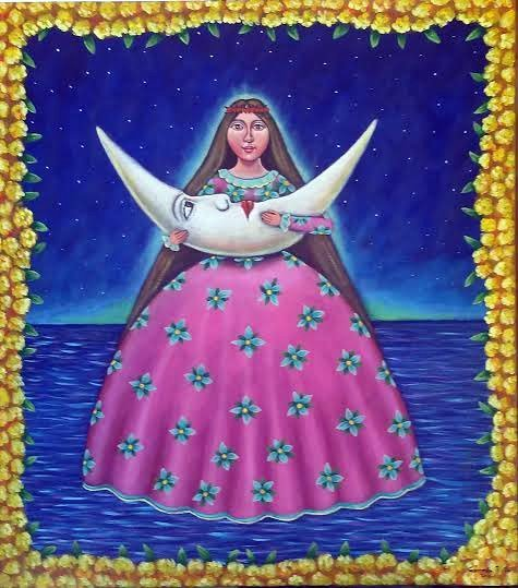 Moon Beautiful-Mexican Folk Art by German Rubio
