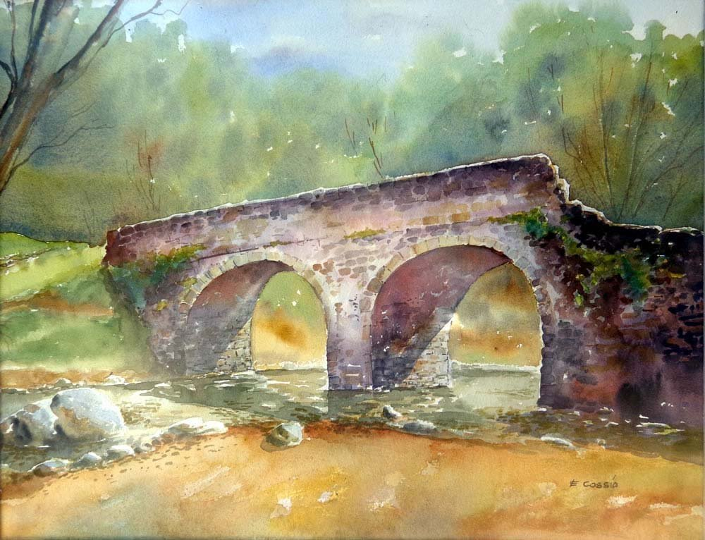 Old Bridge-Watercolor on archival paper by Antonio