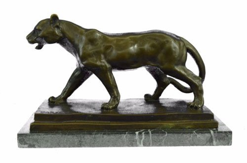 California Jaaguar Bronze Sculpture on marble base