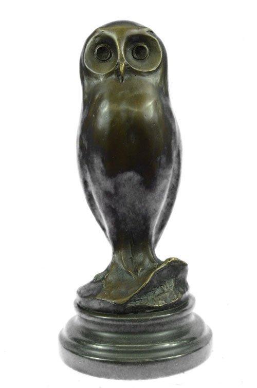 Owl Bronze Bird Sculpture on marble base