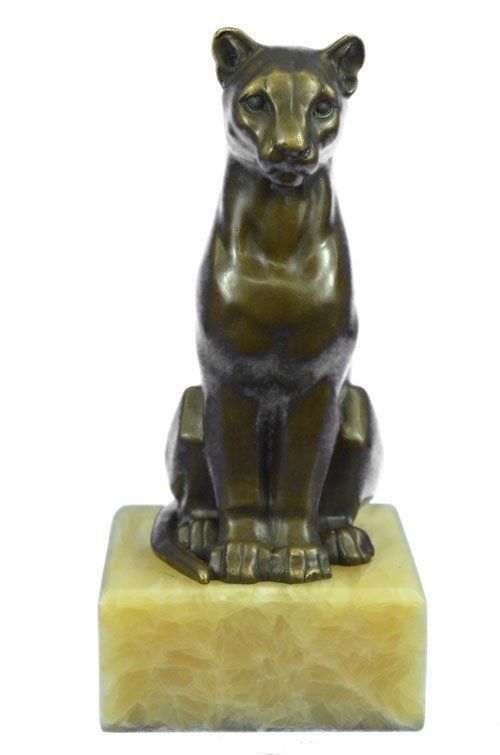 Mountain Lion Bronze Sculpture on Marble Statue