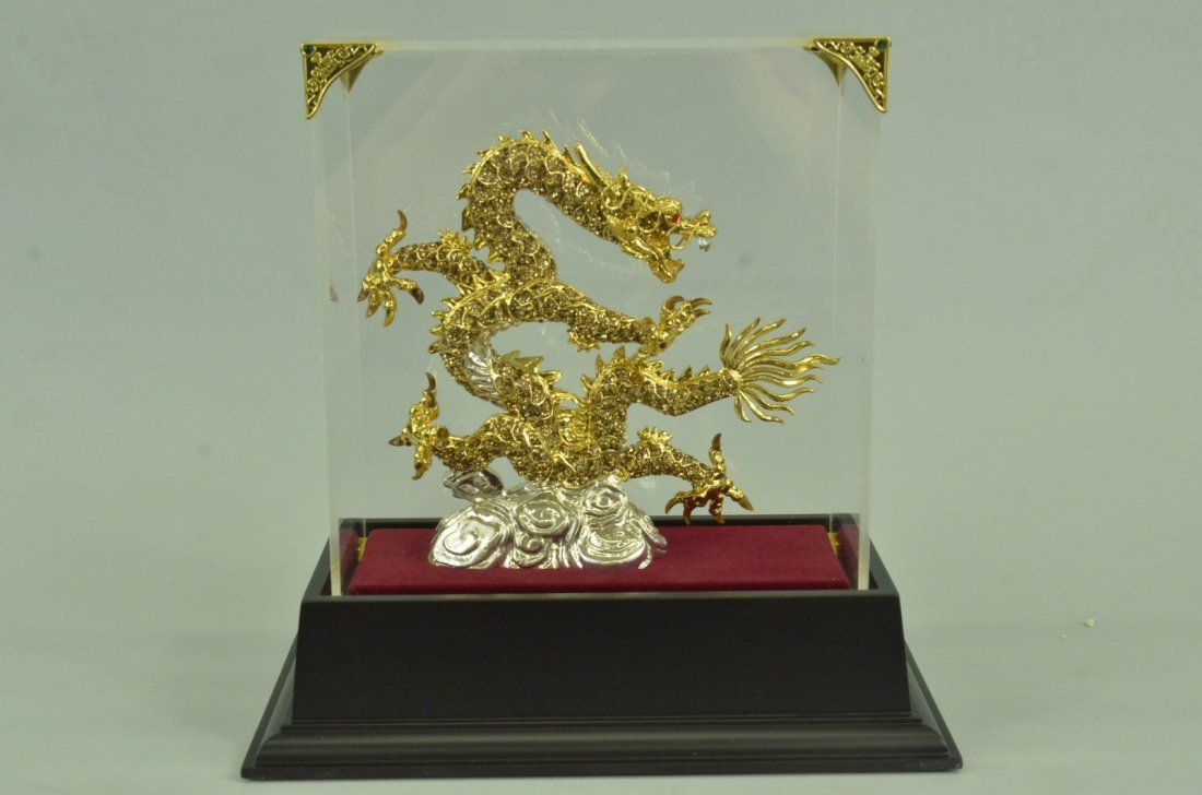 24K Gold Plated Chinese Zodiac Dragon With Gem Stone