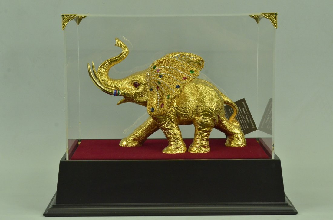 24K Gold plated African Elephant Sculpture