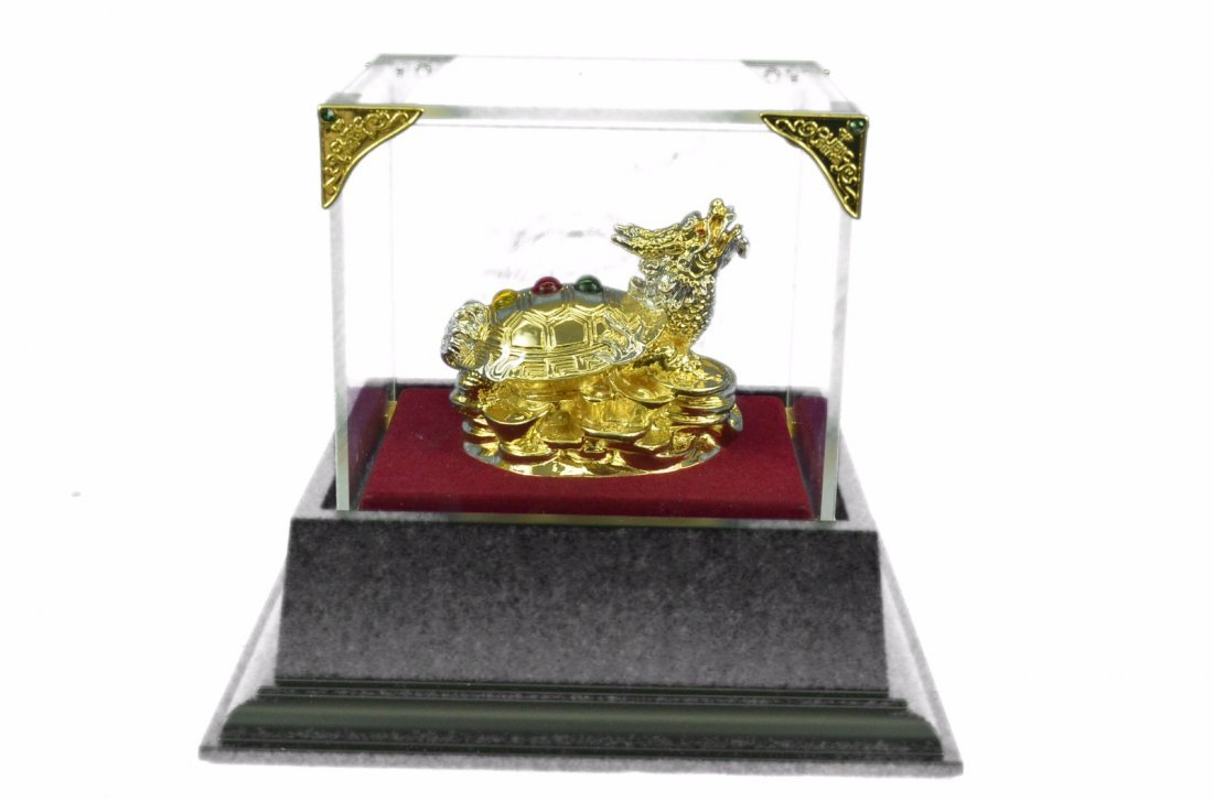 24K Gold and Silver Plated Dragon sculpture