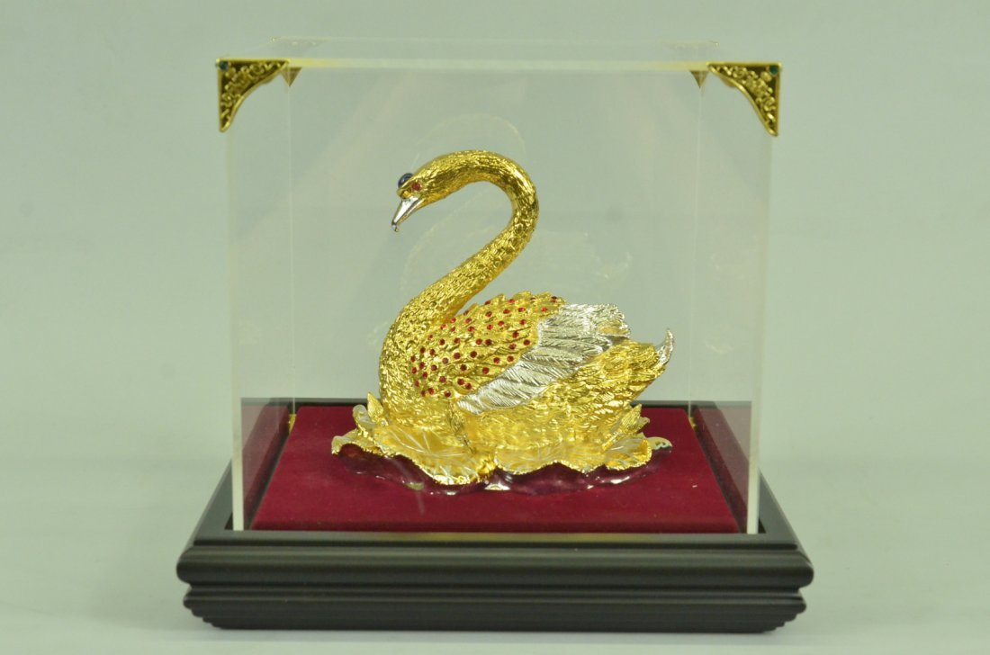 24K Gold Plated Swan With Rubies Sculpture