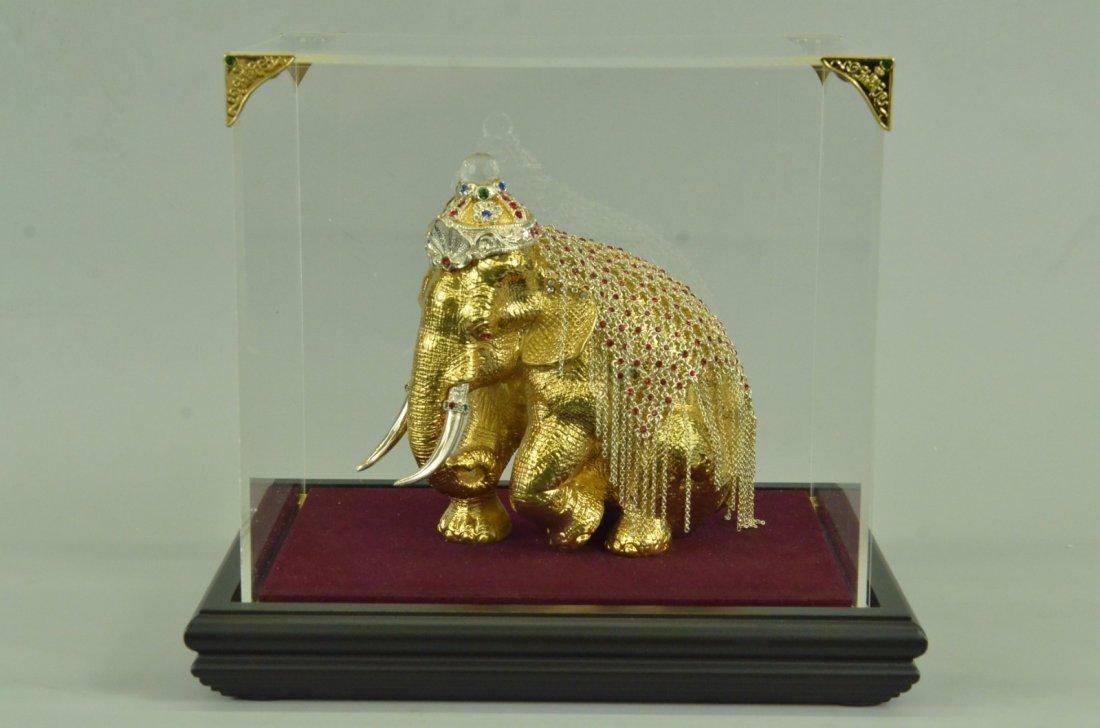 24K Gold Plated Art Deco Sitting Elephant Sculpture