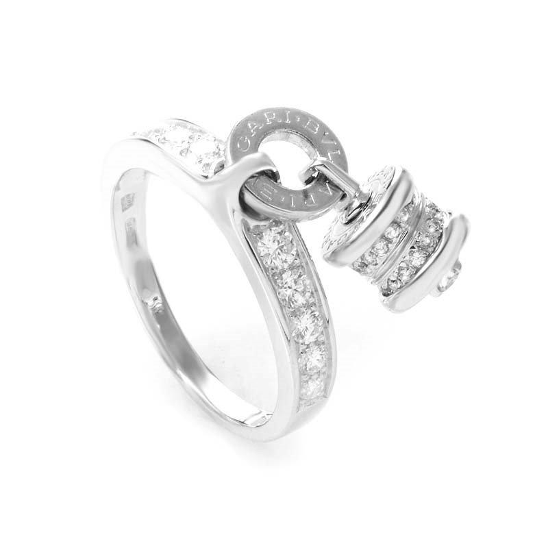 Bvlgari: B.ZERO1 18K White Gold Diamond Charm Ring