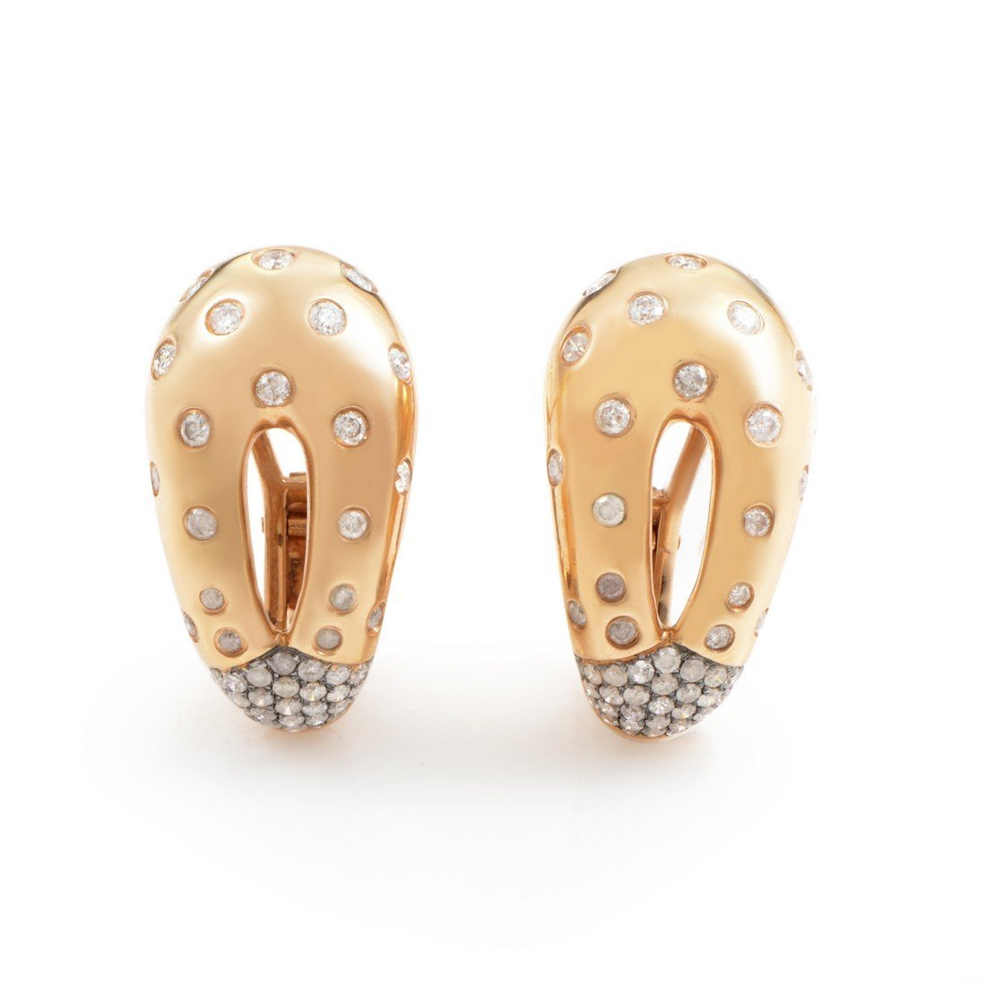18K Rose Gold Diamond Loop Huggie Earrings EA4236
