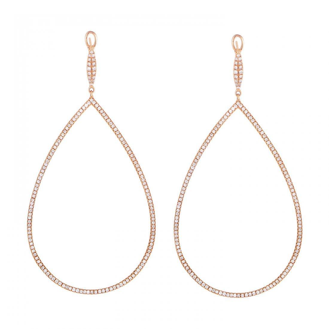 18K Rose Gold Diamond Teardrop Earrings SE49781EFRZ