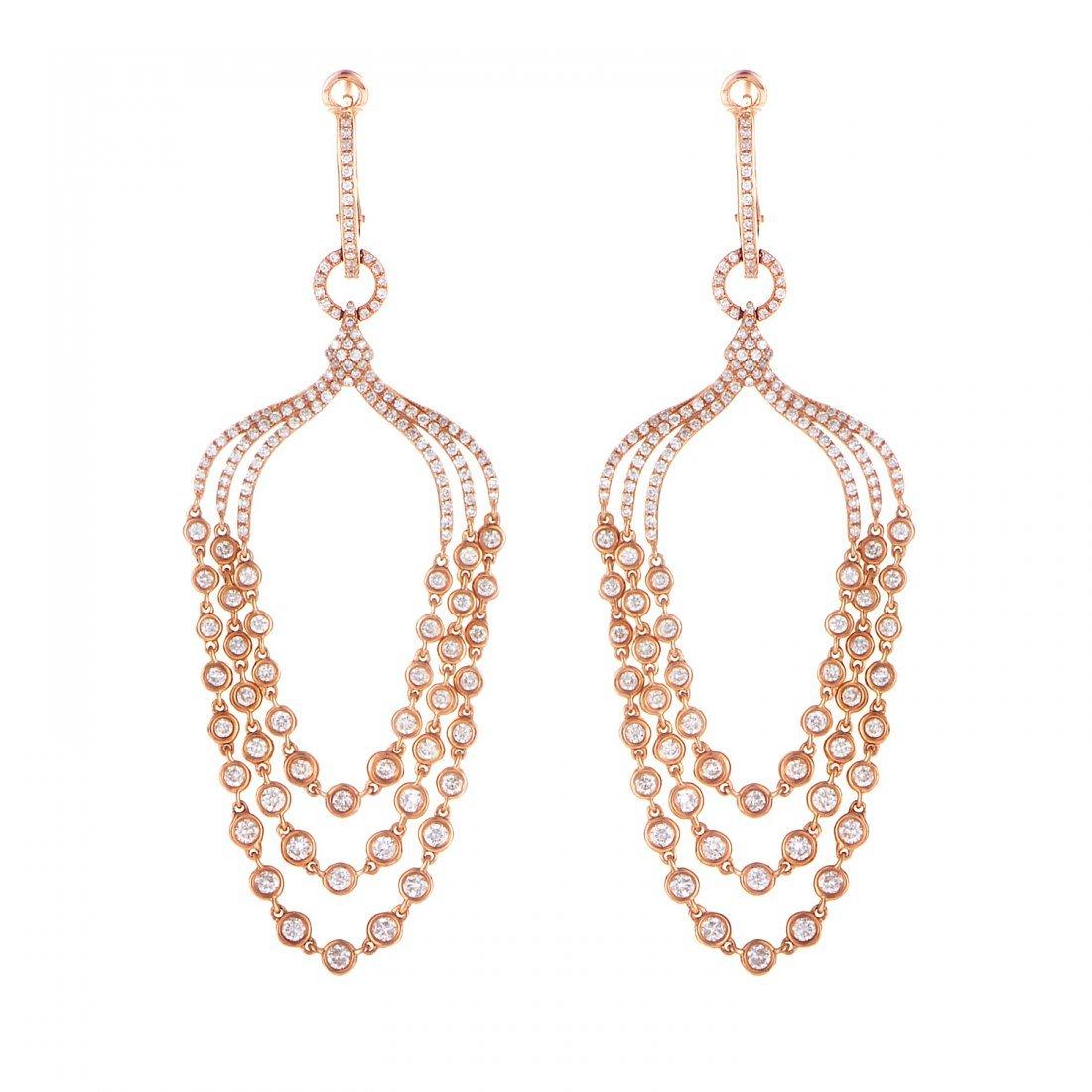 18K Rose Gold Diamond Drop Earrings SEDF868EERZ