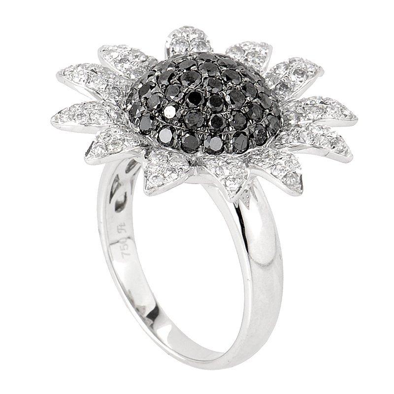 18K White Gold Diamond Sunflower Ring