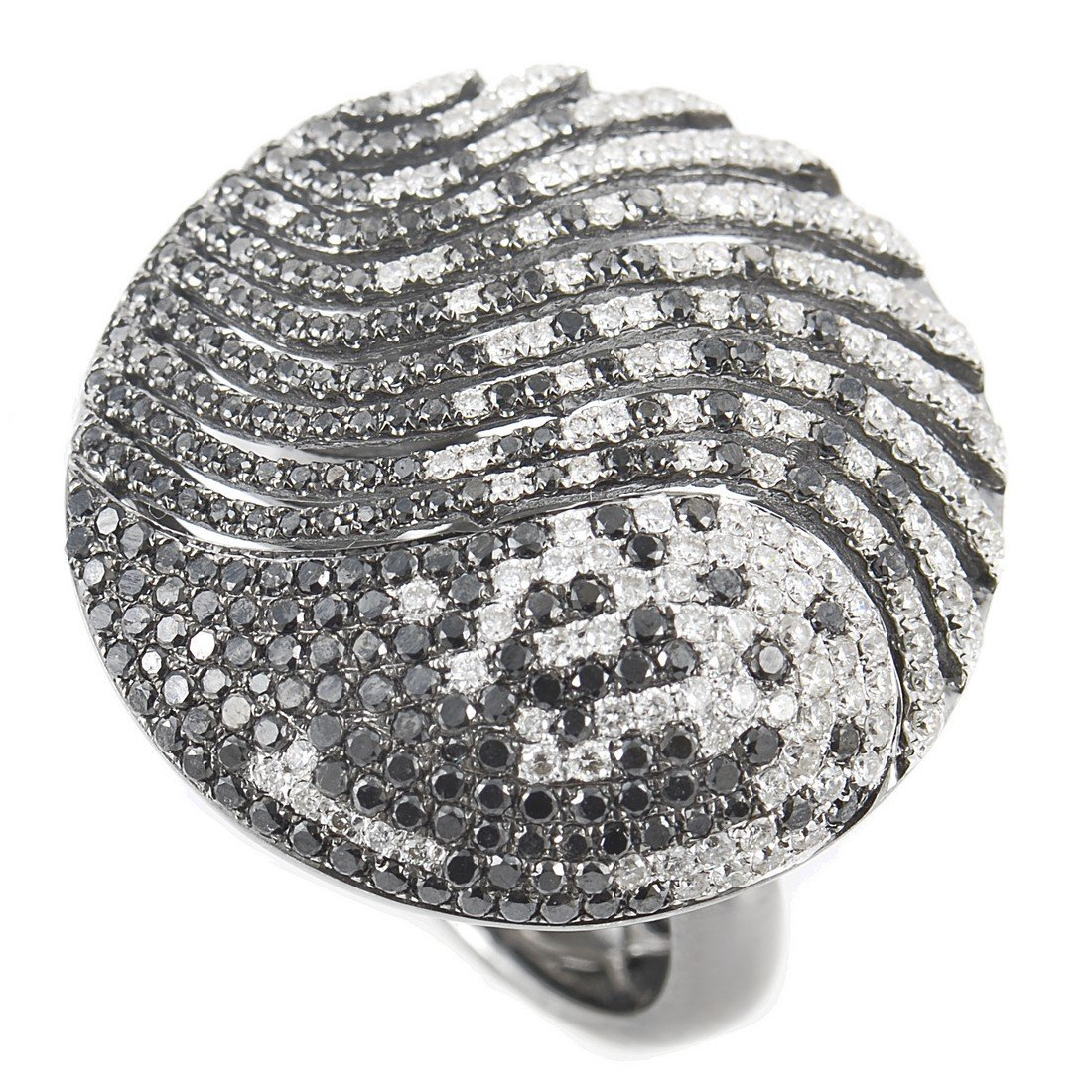 Dazzling 14K White Gold Diamond Pave Leaf Ring SDR5192