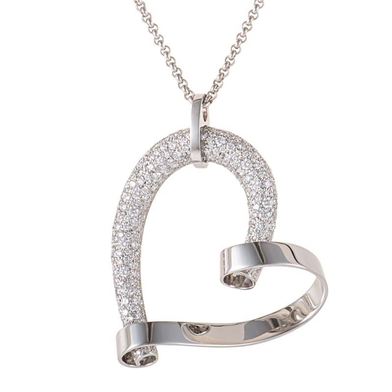 Chopard: 18K White Gold Diamond Pave Heart Pendant