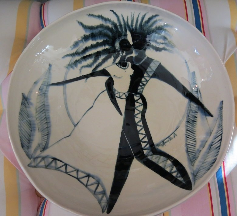 Modernist Art Studio Pottery Bowl w Black African