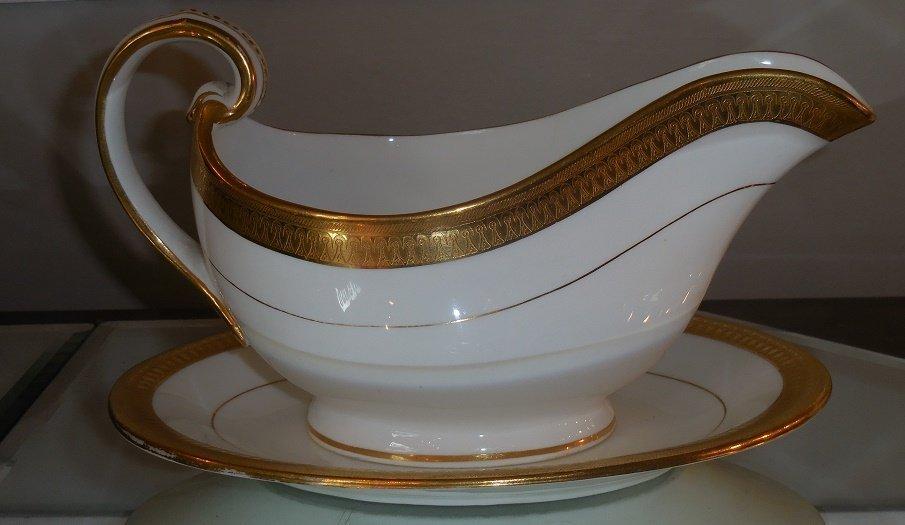 Antique Minton Porcelain Gold Encrusted Gravy Boat &