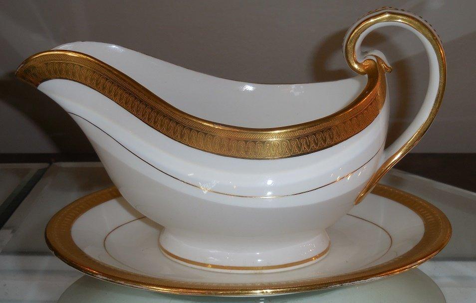 Antique Minton Porcelain Gold Encrusted Gravy Boat & - 3