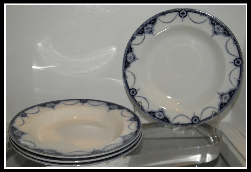 Set of 4 Antique Blue & White English Pottery Wide Rim