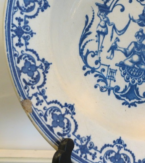 Antique 18th C French Faience Blue & White Pottery - 4