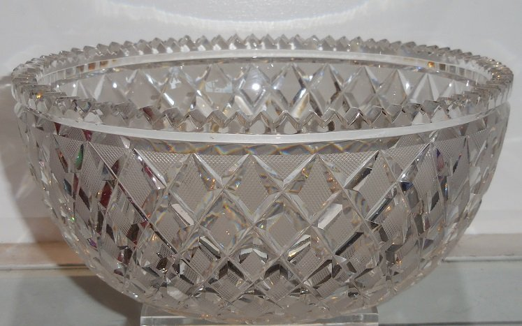 Classic Antique 19th C Irish Cut Glass Crystal Bowl