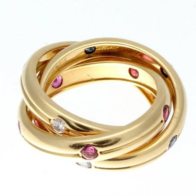 Cartier Trinity Ruby Sapphire Diamond Gold Ring