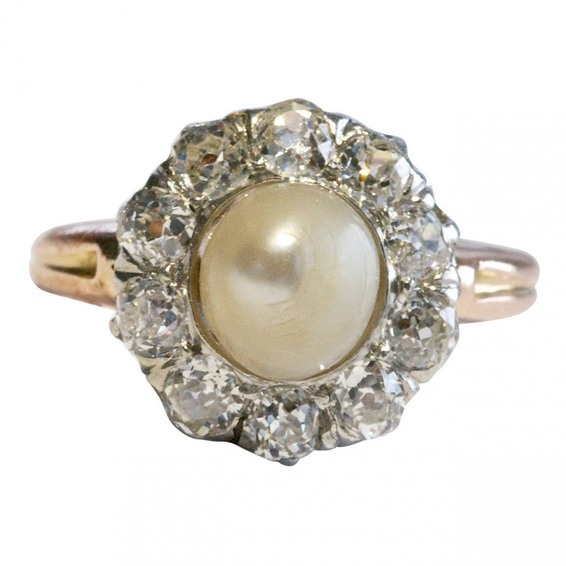 GIA Natural Pearl Diamond Gold Engagement Ring