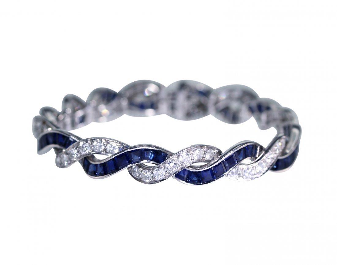 Platinum, Sapphire and Diamond Bracelet by Cartier