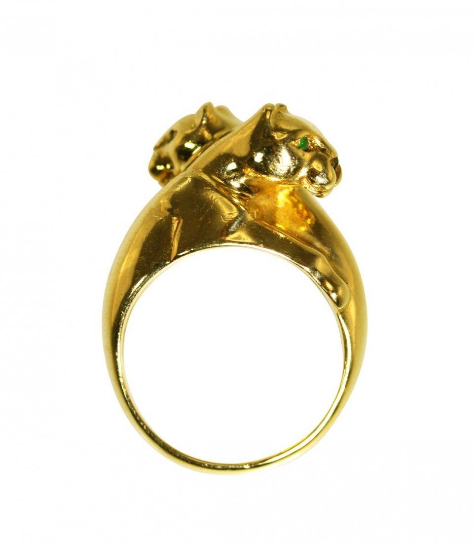 """18 Karat Gold """"Hugging Panthers"""" Ring by Cartier"""