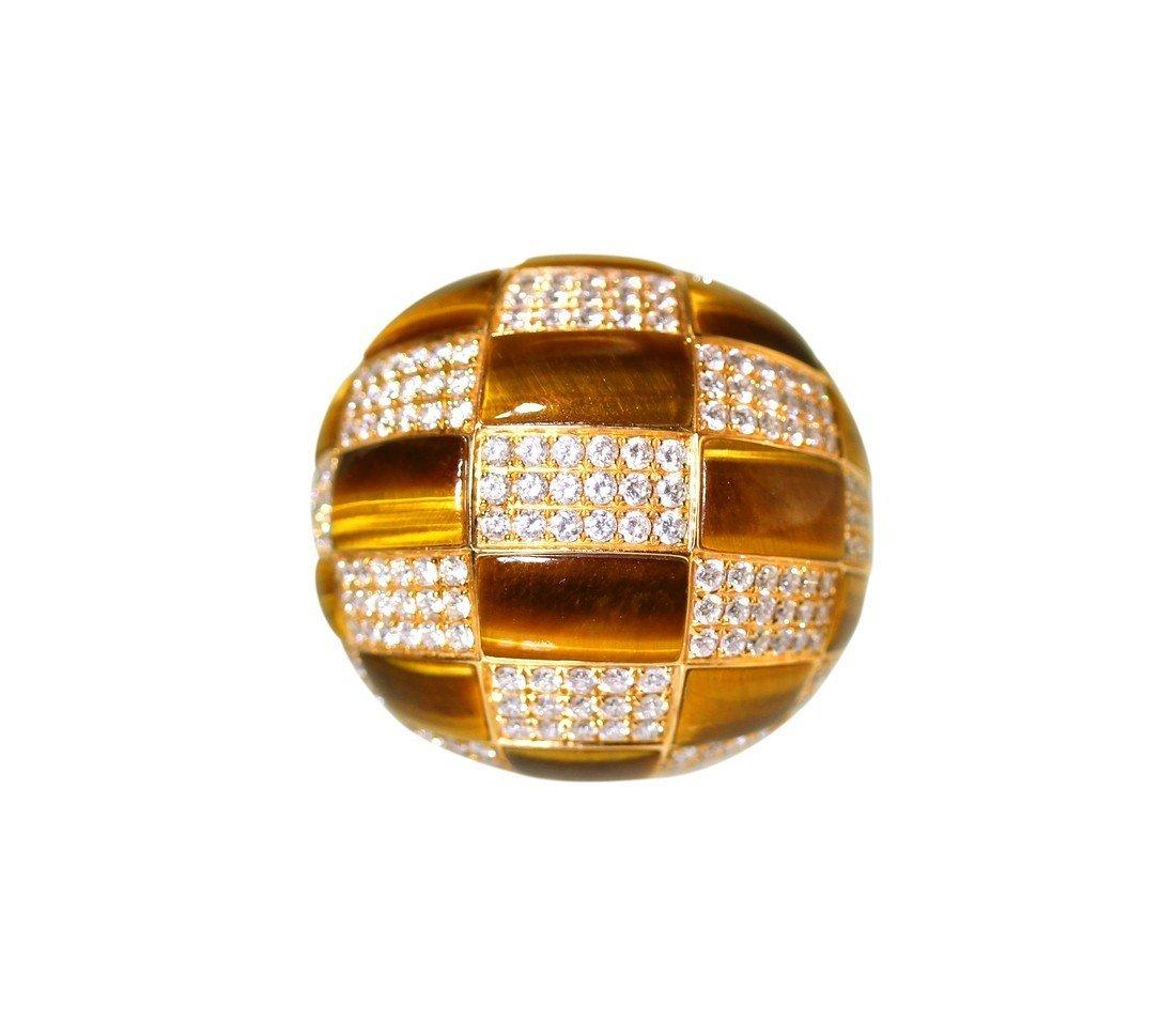 18 Karat Gold Inlaid Tiger-Eye and Diamond Dome Ring