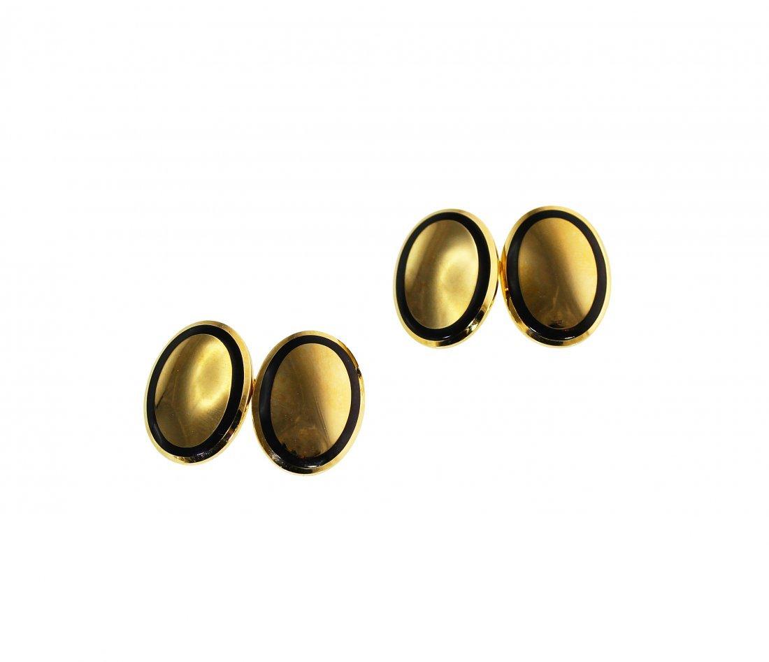 Pair of 18 Karat Gold and Enamel Cufflinks by Tiffany &