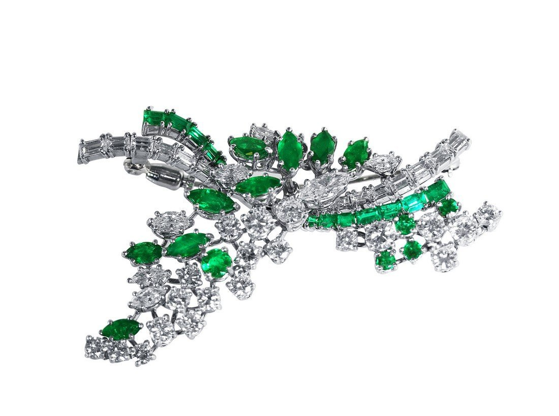 Platinum Emerald and Diamond Brooch, circa 1950s