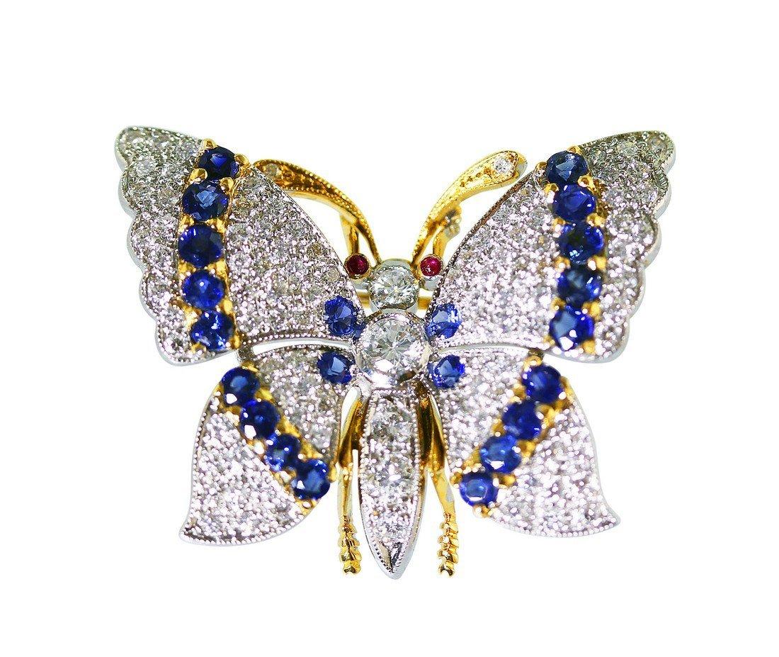 18 Karat Gold Sapphire and Diamond Butterfly Brooch